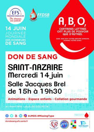 Journée mondiale du don du sang - 14 juin - Saint-Nazaire