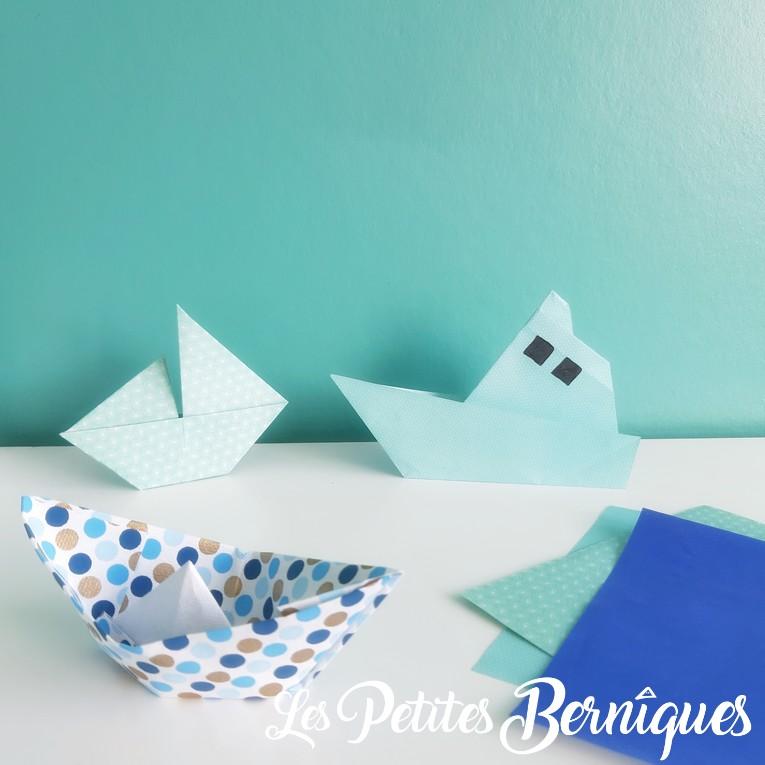 pliage papier - bateaux